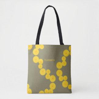 Strand of dandelions pattern tote bag