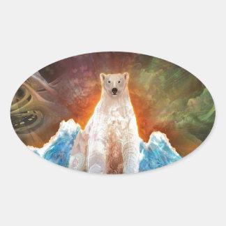 Stranded Polarbear Oval Sticker