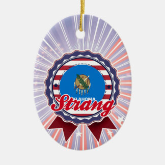 Strang, OK Double-Sided Oval Ceramic Christmas Ornament