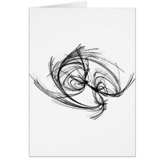 Strange attractor black and white abstract card