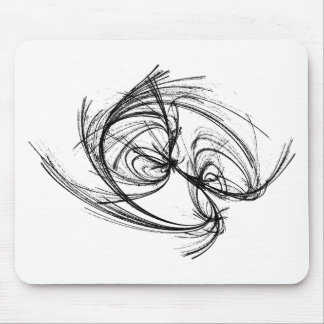 Strange attractor black and white abstract mouse pad
