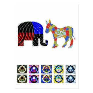 Strange Bed Fellows : POLITICS Elephant n Donkey Postcard