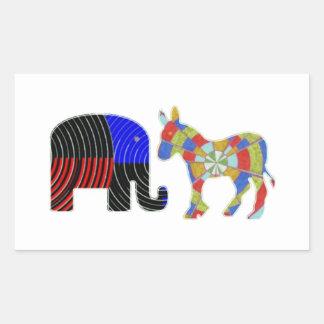 Strange Bed Fellows : POLITICS Elephant n Donkey Rectangular Sticker