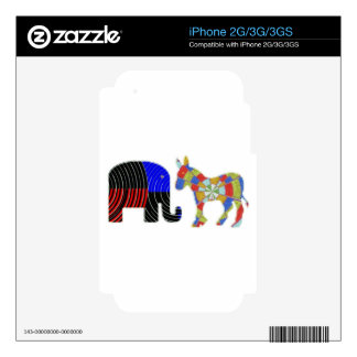 Strange Bed Fellows : POLITICS Elephant n Donkey Decals For iPhone 3G
