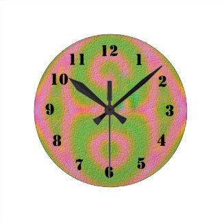 Strange colored pattern round clock