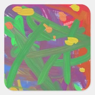 Strange colorful pattern square sticker