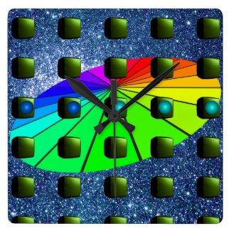 Strange Creative Artists Sci Fi Rainbow Palette Square Wall Clock