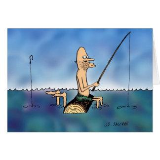 Strange Day Fishing Cartoon Birthday Card