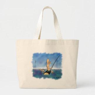 Strange Day Fishing Cartoon Large Tote Bag