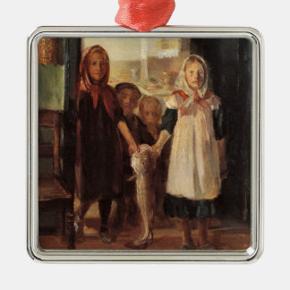 Strange fun art little girl with a cod fish kids metal ornament