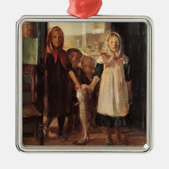 Strange fun art little girl with a cod fish kids metal ornament