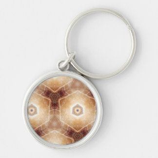 Strange hexagon shapes pattern Silver-Colored round keychain
