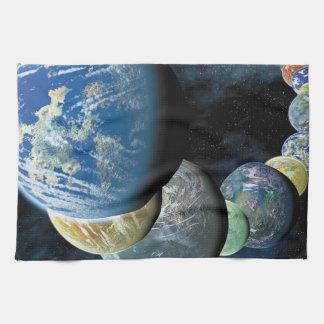 Strange New Worlds Alien Planet Montage Kitchen Towel