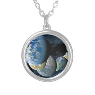 Strange New Worlds Alien Planet Montage Silver Plated Necklace