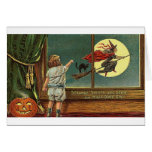 Strange Sights Are Seen on Halloween, Child, Cat,  Greeting Card