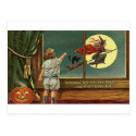Strange Sights Are Seen on Halloween, Child, Cat, Post Card