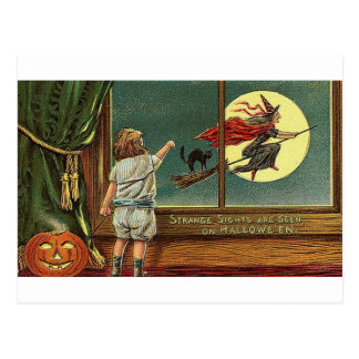 Strange Sights Are Seen on Halloween, Child, Cat,  Postcard