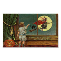 Strange Sights Are Seen on Halloween, Child, Cat,  Poster
