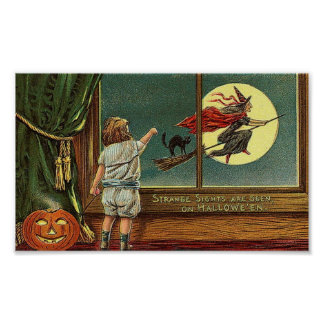 Strange Sights Are Seen on Halloween, Child, Cat,  Poster