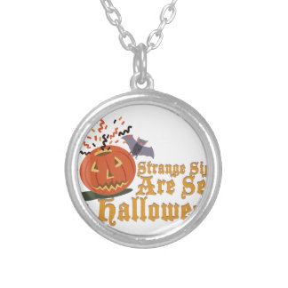Strange Sights On Halloween Silver Plated Necklace
