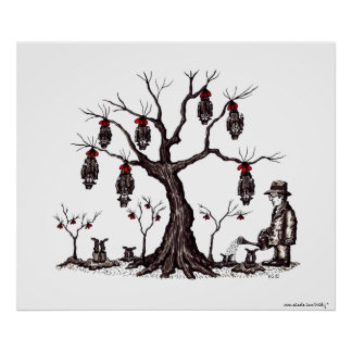 Strange tree surreal black and white drawing art poster