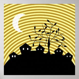 Strange village at night poster