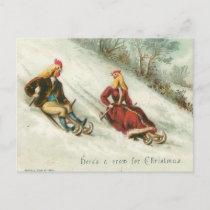 Strange Vintage Chickens Sledding Christmas Holiday Postcard