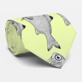 Strange vintage fish drawing tie