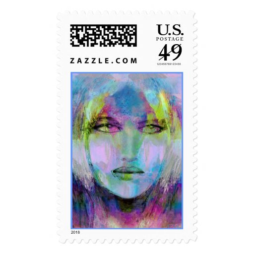 strange vision in his glass stamp