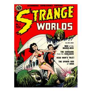 STRANGE WORLDS Cool Vintage Comic Book Cover Art Postcard