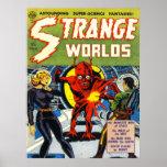 STRANGE WORLDS Cool Vintage Comic Book Cover Art Poster