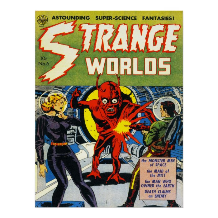 Classic Comic Book Cover Prints : Strange worlds cool vintage comic book cover art poster