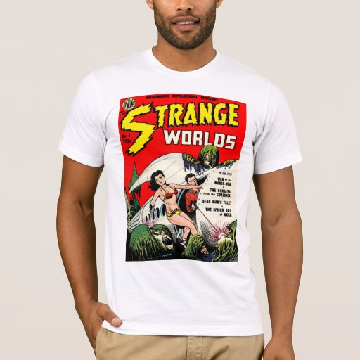 Vintage Book Cover T Shirts : Strange worlds cool vintage comic book cover art t shirt