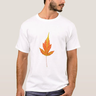 Strange Yellow Maple Leaf White Tee Shirt