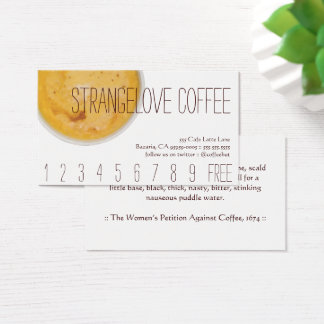 Strangelove Coffee Drink Loyalty / Punch Card