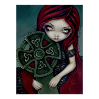 Strangely Lonely gothic fairy celtic cross Print