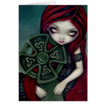 art, fantasy, lonely, tomb, grave, gravestone, tombstone, funeral, cemetery, graveyard, celtic, cross, celtic cross, eye, eyes, big eye, big eyed, jasmine, becket-griffith, becket, griffith, jasmine becket-griffith, jasmin, strangeling, artist, goth, gothic, fairy, gothic fairy, faery, fairies, faerie, fairie, lowbrow, low brow, big eyes, strangling, fantasy art, original, Card with custom graphic design
