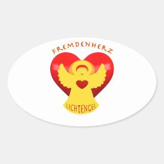 Stranger heart instead of stranger hate oval sticker
