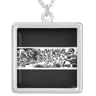 """""""Strangler Calaveras"""" circa 1942 MEXICO. Square Pendant Necklace"""
