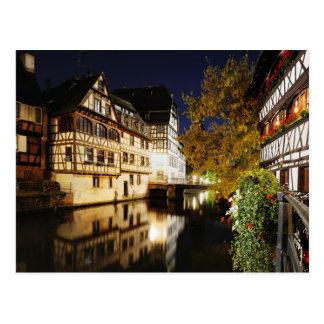 Strasbourg at night postcard