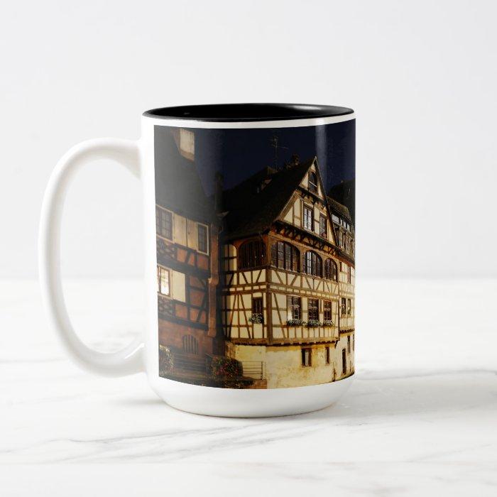 Strasbourg at night Two-Tone coffee mug