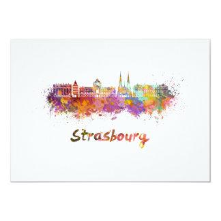 Strasbourg skyline in watercolor card