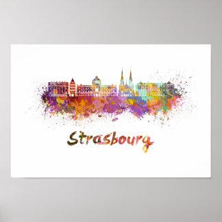 Strasbourg skyline in watercolor poster