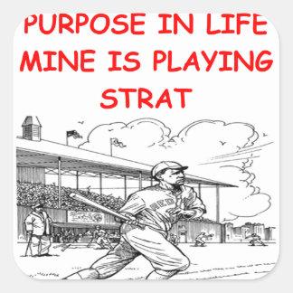 strat baseball square sticker