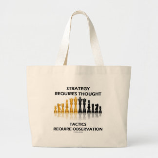 Strategy Requires Thought Tactics Observation Large Tote Bag