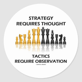 Strategy Requires Thought Tactics Observation Round Stickers