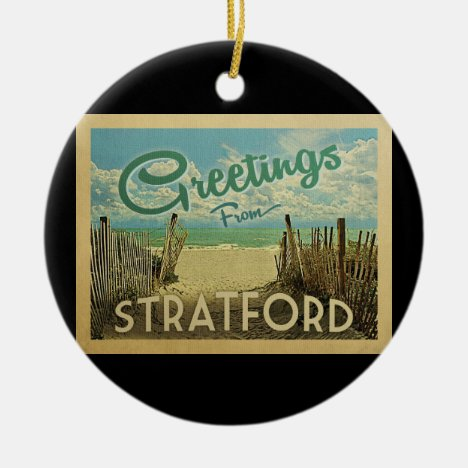 Stratford Beach Vintage Travel Ceramic Ornament