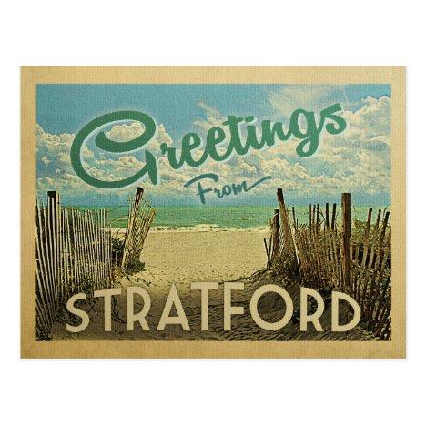 Stratford Connecticut Beach Vintage Travel Postcard