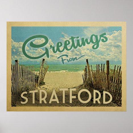 Stratford Connecticut Beach Vintage Travel Poster