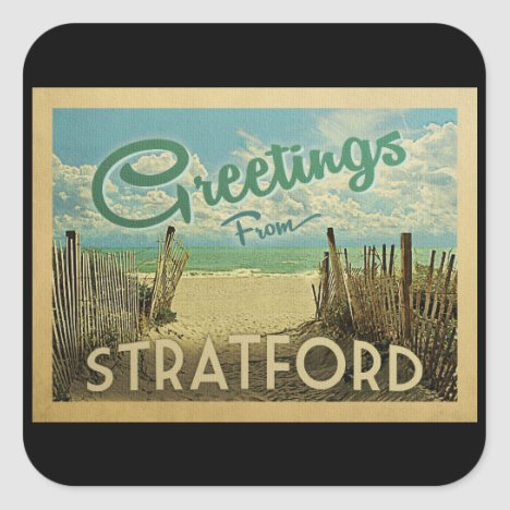 Stratford Connecticut Beach Vintage Travel Square Sticker